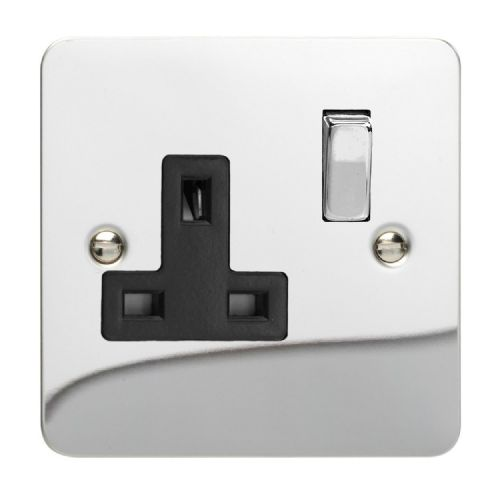 Varilight XFC4DB Ultraflat Polished Chrome 1 Gang 13A DP Single Switched Plug Socket